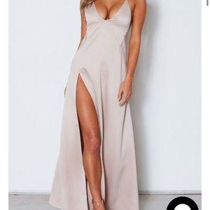 White fox boutique champagne maxi dress